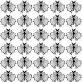 Stylized dragonflies and butterflies - unique drawings and sketches. Seamless pattern Stock Photos