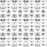 Stylized dragonflies and butterflies - unique drawings and sketches. Seamless pattern stock illustration