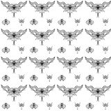 Stylized dragonflies and butterflies - unique drawings and sketches. Seamless pattern vector illustration
