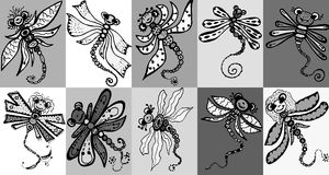 Stylized dragonflies- drawings and sketches Stock Photography