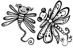 Stylized dragonflies - unique drawings and sketches Stock Images