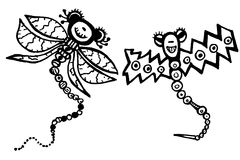 Stylized dragonflies - unique drawings and sketches Stock Photos