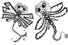 Stylized dragonflies - unique drawings and sketches Stock Photography