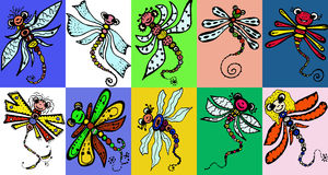 Stylized dragonflies - unique drawings and sketches Royalty Free Stock Photo