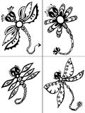 Stylized dragonflies - unique drawings and sketches Stock Photo