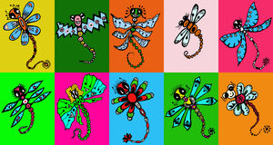 Stylized dragonflies - unique drawings and sketches Royalty Free Stock Image