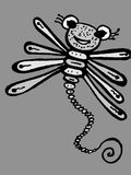 Stylized dragonfly - drawings and sketches Royalty Free Stock Images