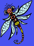 Stylized dragonfly - unique drawings and sketches Stock Image