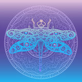 Stylized dragonfly with swirly wings design and human eyes on its wings framed with floral mandala on gradient background Totem an Royalty Free Stock Photo