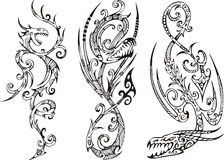 Stylized Dragons. Set of vector illustrations Royalty Free Stock Photos