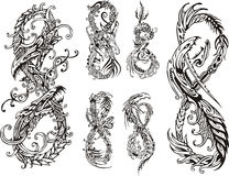 Stylized dragons as digit eight. Set of black and white vector illustrations Stock Image