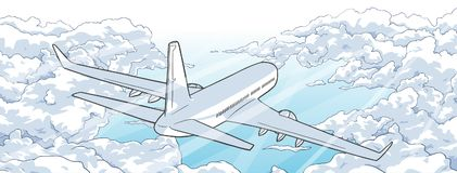 Illustration of airplane flying over clouds stock illustration