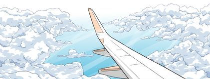 Illustration of airplane flying over clouds. Stylized drawing of aircraft ascending among clouds Royalty Free Stock Photos