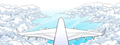 Illustration of airplane flying over clouds. Stylized drawing of aircraft ascending among clouds Royalty Free Stock Photography
