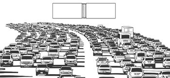 Illustration of rush hour traffic jam on freeway. Stylized drawing of american freeway in rush hour traffic in black and white with blank signs Stock Images