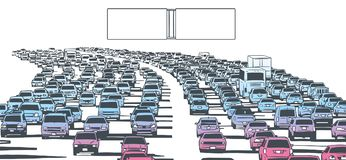 Illustration of rush hour traffic jam on freeway. Stylized drawing of american freeway in rush hour traffic in color with blank signs Stock Photo