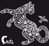 Stylized drawing  cat on black background Stock Image