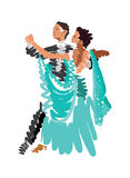 Stylized drawing of dancing girls and boys Stock Images