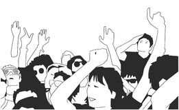 Black and white illustration of party crowd cheering at concert. Stylized drawing of festival crowd Royalty Free Stock Images