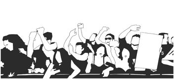 Black and white illustration of party crowd cheering at concert. Stylized drawing of festival crowd Stock Images