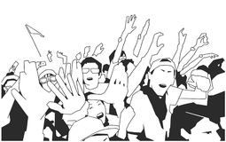 Black and white illustration of party crowd cheering at concert. Stylized drawing of festival crowd Royalty Free Stock Image