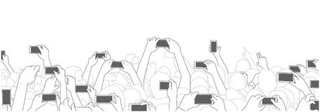 Illustration of concert audience cheering and recording with phones at live festival party performance. Stylized drawing of festival crowd cheering at concert Royalty Free Stock Image