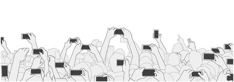 Illustration of concert audience cheering and recording with phones at live festival party performance. Stylized drawing of festival crowd cheering at concert Stock Image
