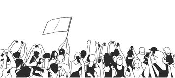 Stylized drawing of festival crowd at concert cheering and recording with blank flag in black and white. Stylized drawing of festival crowd with blank flag Royalty Free Stock Image