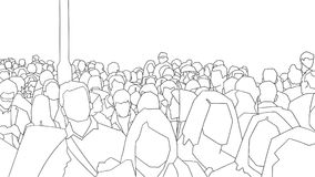 Stylized illustration of rush hour crowd in perspective Stock Image
