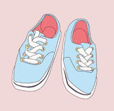 Stylized drawing of misplaced footwear in color Royalty Free Stock Images