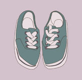 Stylized drawing of misplaced footwear in color Stock Image