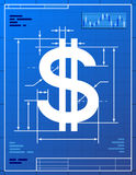 Dollar sign like blueprint drawing. Stylized drawing of money symbol on blueprint paper