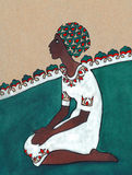 Stylized drawing. Negress sitting on her knees in white dress Royalty Free Stock Image