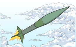 Illustration of ballistic missile ascending among clouds in color Royalty Free Stock Images