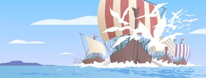 Illustration of viking ships navigating on sea. Stylized drawing of northern long boat sailing on open water Royalty Free Stock Photo