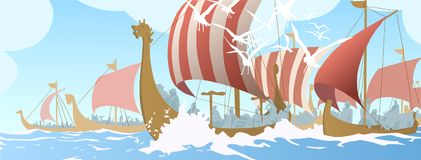 Illustration of viking ships navigating on sea. Stylized drawing of northern long boat sailing on open water Stock Photography