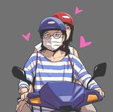 Isolated illustration of girls riding motorbike, motorcycle with face mask, helmet and glasses. Stylized drawing of pair of young asian girls riding scooter in Stock Photography