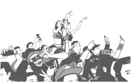 Illustration of large croncert crowd of people cheering at festival party with hands raised. Stylized drawing of party people at concert Stock Photos