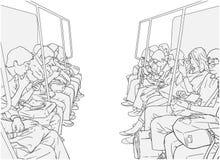 Illustration of people using public transport, train, subway, metro. Stylized drawing of people commuting using metro subway with elderly, palying on phone Stock Photo