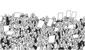 Illustration of large crowd of people demonstrating with blank signs. Stylized drawing of people protesting with signs and banners in black and white Royalty Free Stock Images