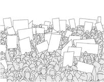 Illustration of large crowd of people demonstrating with blank signs. Stylized drawing of people protesting with signs and banners in black and white Stock Photo