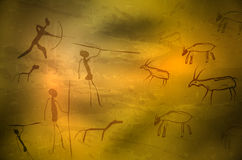Stylized drawing of prehistoric hunters and animals. Abstract primitive art - stylized drawing of prehistoric hunters and animals. Vector illustration Royalty Free Stock Photography
