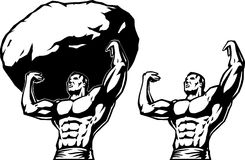 Stylized drawing of a strongman. Royalty Free Stock Images