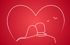 Stylized drawing of two lovers. On red background Royalty Free Stock Photography