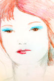 Stylized drawing of woman. Royalty Free Stock Images
