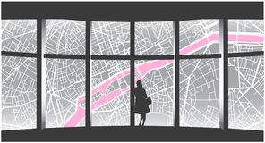 Illustration of lonely woman looking at cityscape from highrise window Royalty Free Stock Photography