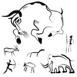 Stylized drawings of prehistoric animals and humans. Set of abstract primitive art - stylized drawings of prehistoric animals and humans. Vector illustration Stock Photography
