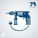 Stylized drill with cable and plug, clear eps8 vector detailed i Royalty Free Stock Images