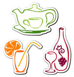 Stylized drink icons Stock Images