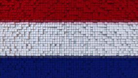 Stylized mosaic flag of the Netherlands made of pixels, 3D rendering. Stylized Dutch flag made of big pixels Royalty Free Stock Images